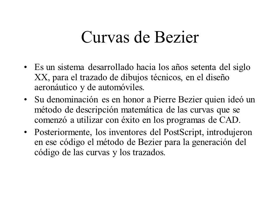Curvas de Bezier Es un sistema desarrollado hacia los años setenta del siglo XX, para el trazado de dibujos técnicos, en el diseño aeronáutico y de au