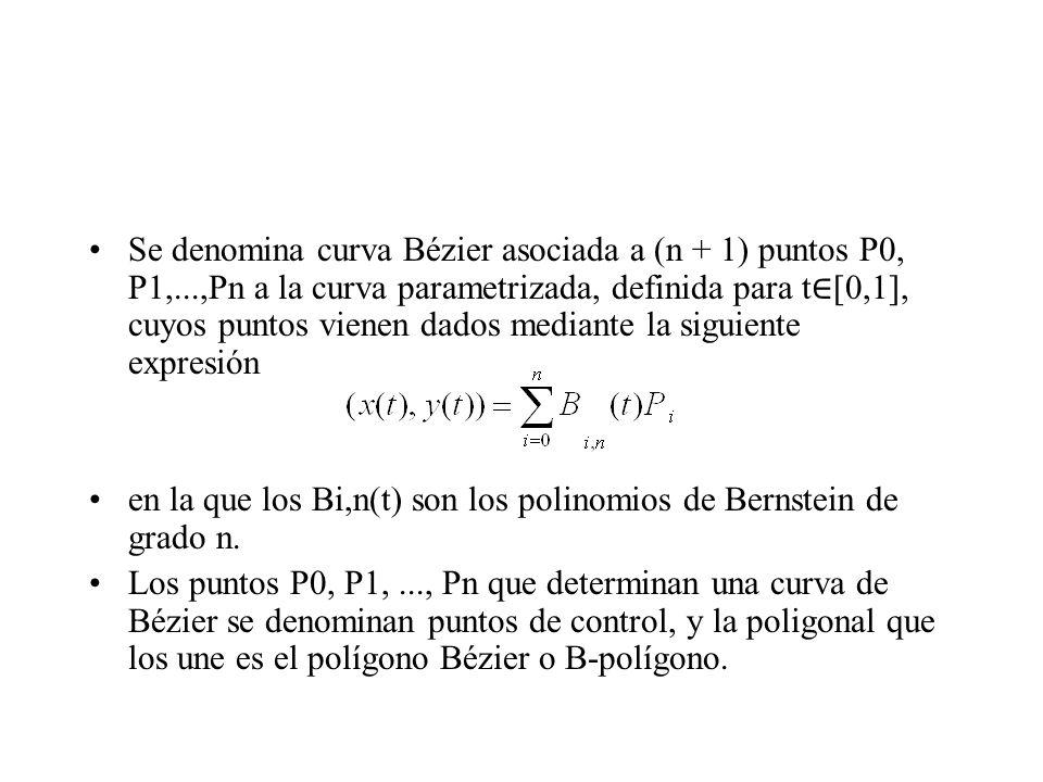 Se denomina curva Bézier asociada a (n + 1) puntos P0, P1,...,Pn a la curva parametrizada, definida para t [0,1], cuyos puntos vienen dados mediante l