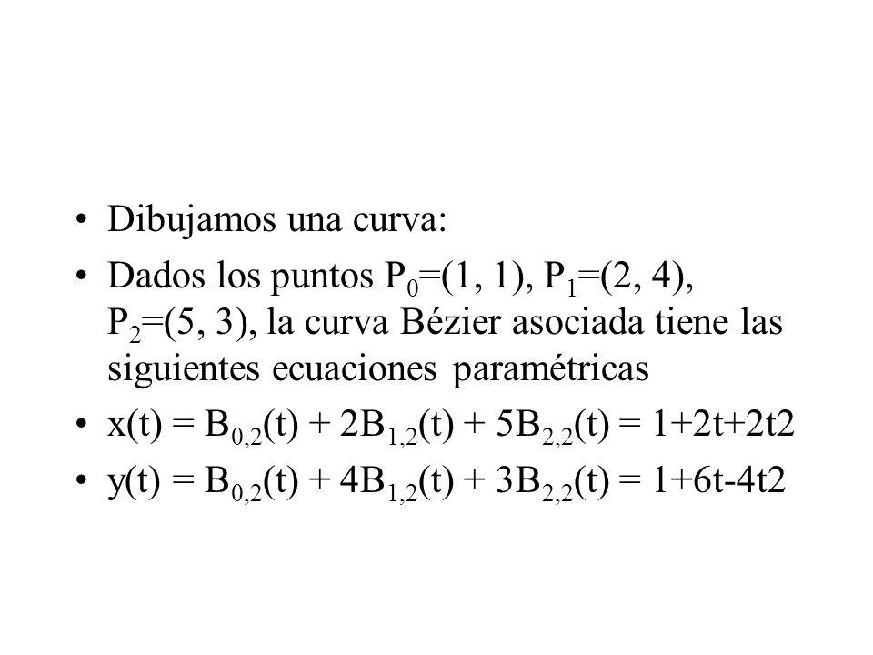 Dibujamos una curva: Dados los puntos P 0 =(1, 1), P 1 =(2, 4), P 2 =(5, 3), la curva Bézier asociada tiene las siguientes ecuaciones paramétricas x(t