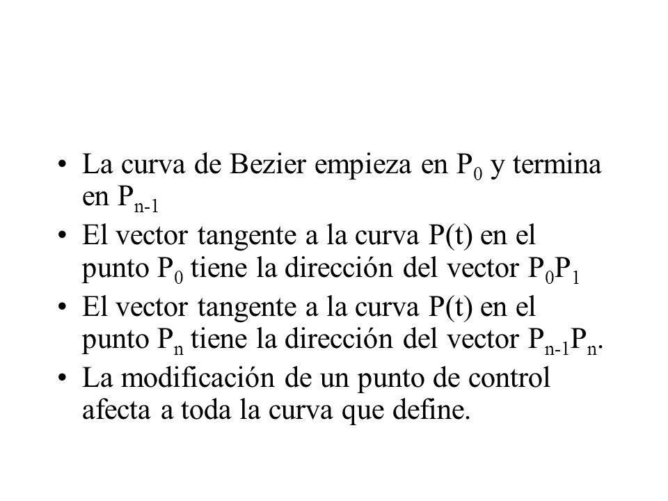 La curva de Bezier empieza en P 0 y termina en P n-1 El vector tangente a la curva P(t) en el punto P 0 tiene la dirección del vector P 0 P 1 El vecto