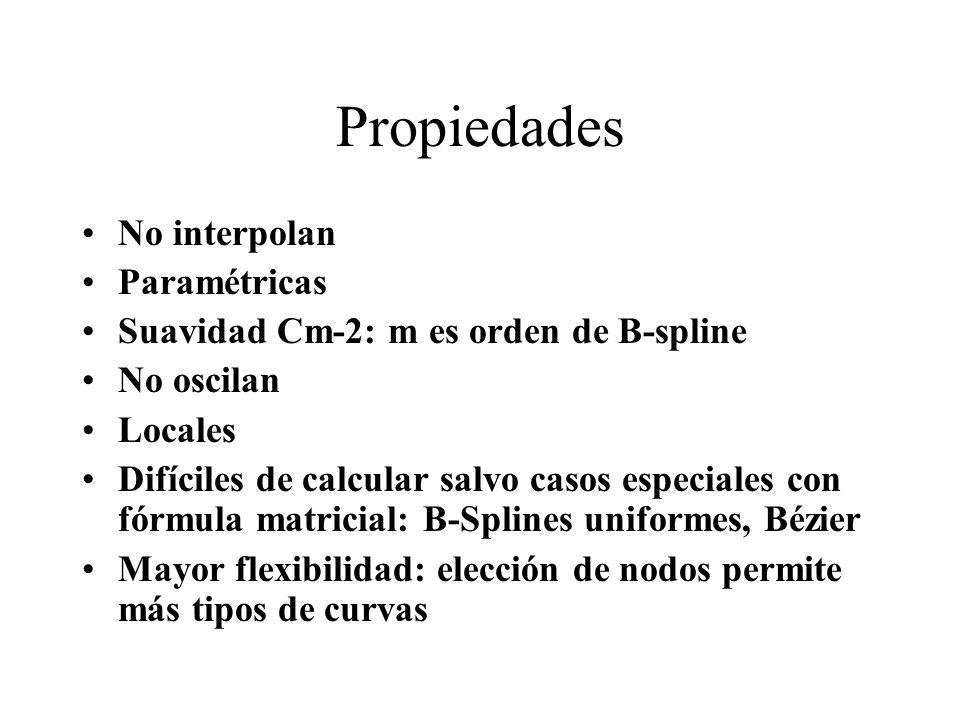 Propiedades No interpolan Paramétricas Suavidad Cm-2: m es orden de B-spline No oscilan Locales Difíciles de calcular salvo casos especiales con fórmu
