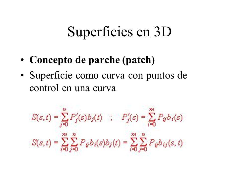 Superficies en 3D Concepto de parche (patch) Superficie como curva con puntos de control en una curva