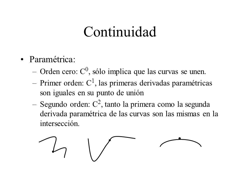 Continuidad Paramétrica: –Orden cero: C 0, sólo implica que las curvas se unen. –Primer orden: C 1, las primeras derivadas paramétricas son iguales en