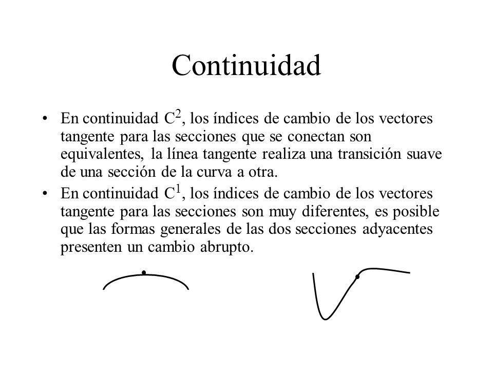 Continuidad En continuidad C 2, los índices de cambio de los vectores tangente para las secciones que se conectan son equivalentes, la línea tangente
