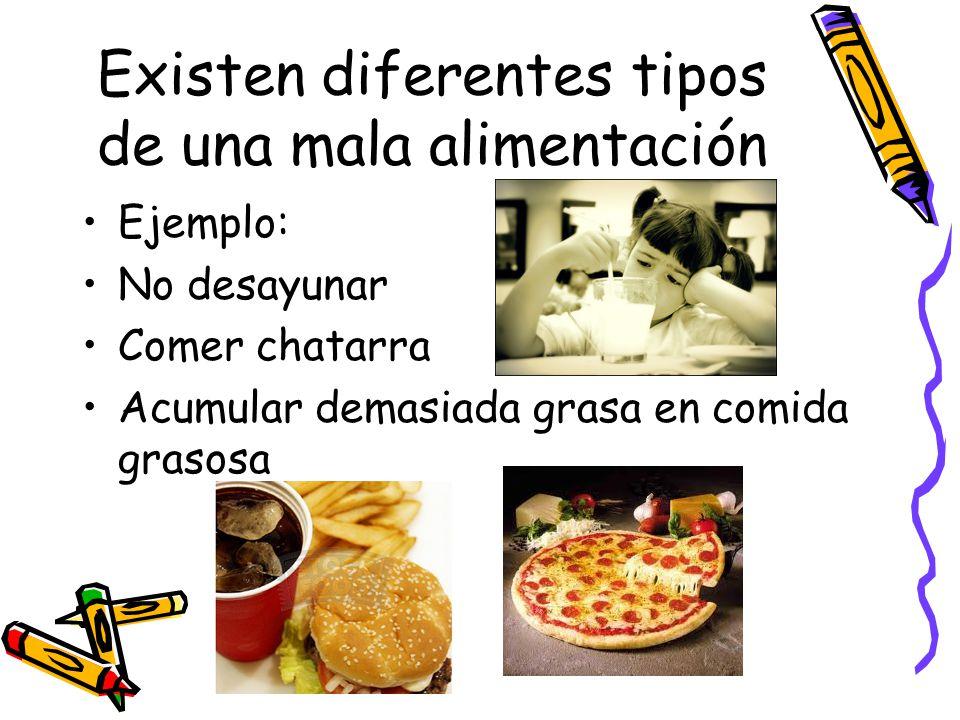 Existen diferentes tipos de una mala alimentación Ejemplo: No desayunar Comer chatarra Acumular demasiada grasa en comida grasosa