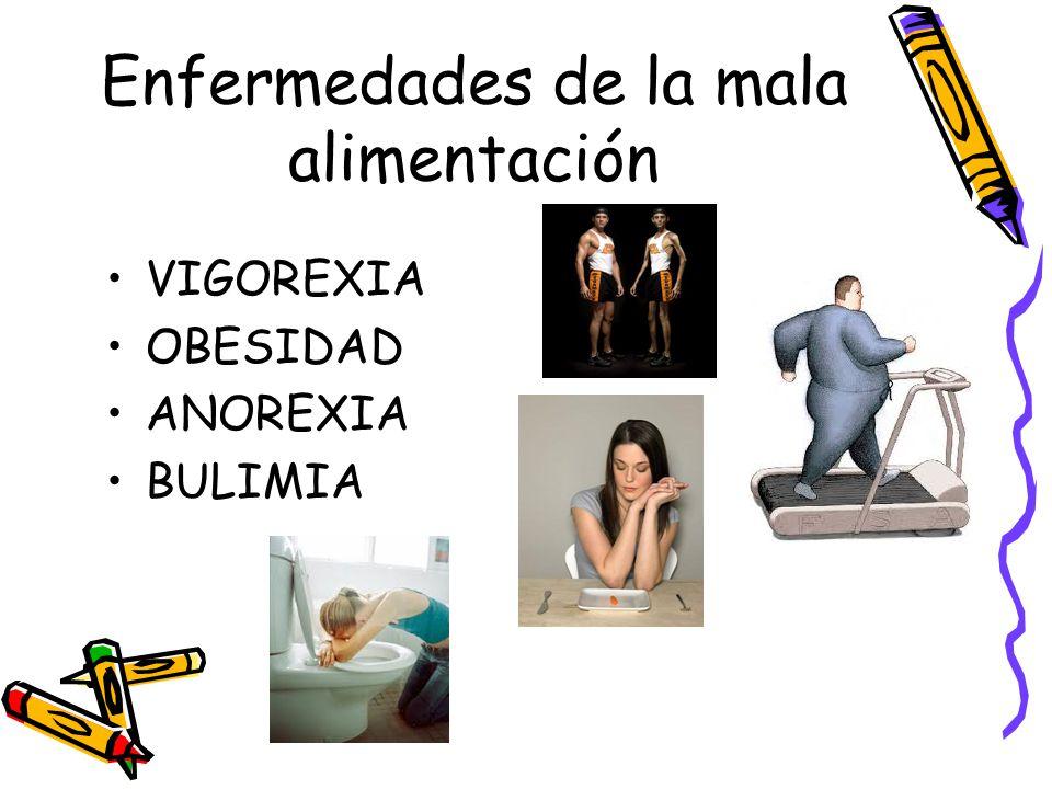 Enfermedades de la mala alimentación VIGOREXIA OBESIDAD ANOREXIA BULIMIA