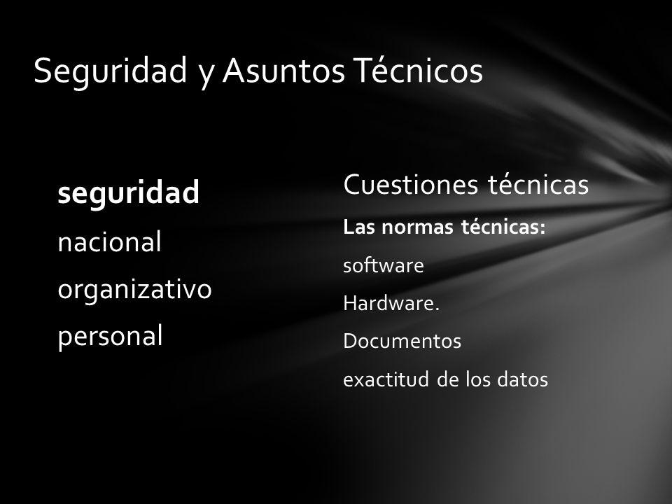 Cuestiones técnicas Las normas técnicas: software Hardware. Documentos exactitud de los datos seguridad nacional organizativo personal Seguridad y Asu