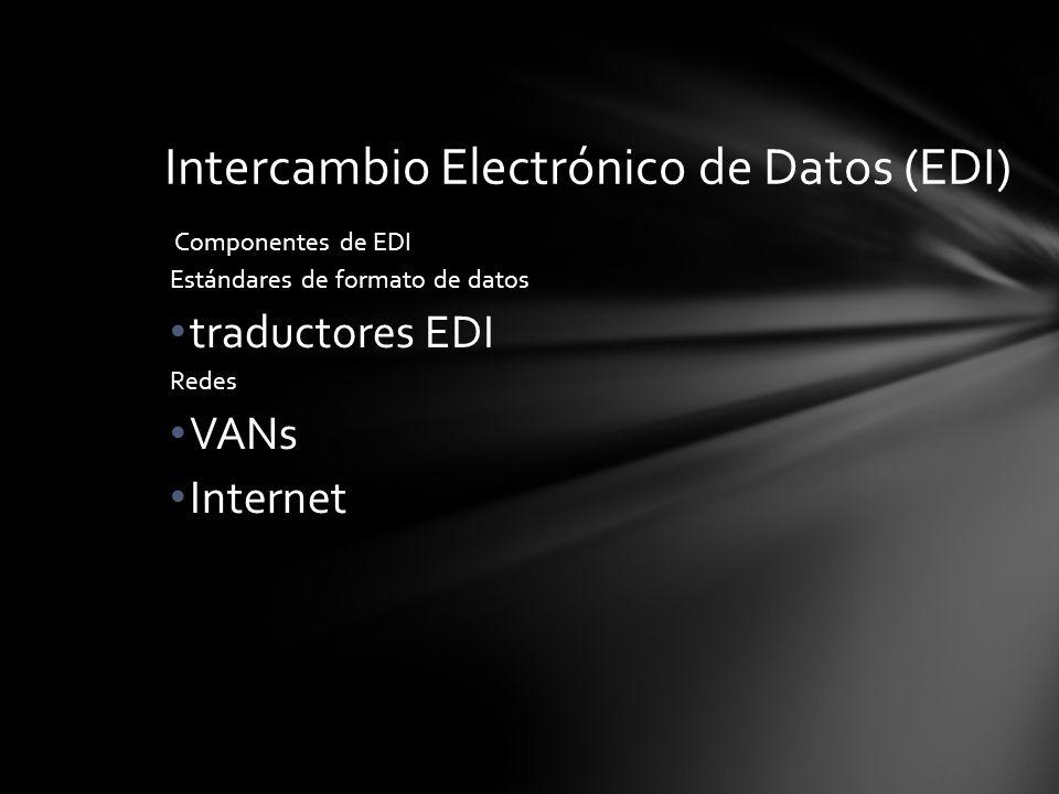 Componentes de EDI Estándares de formato de datos traductores EDI Redes VANs Internet Intercambio Electrónico de Datos (EDI)