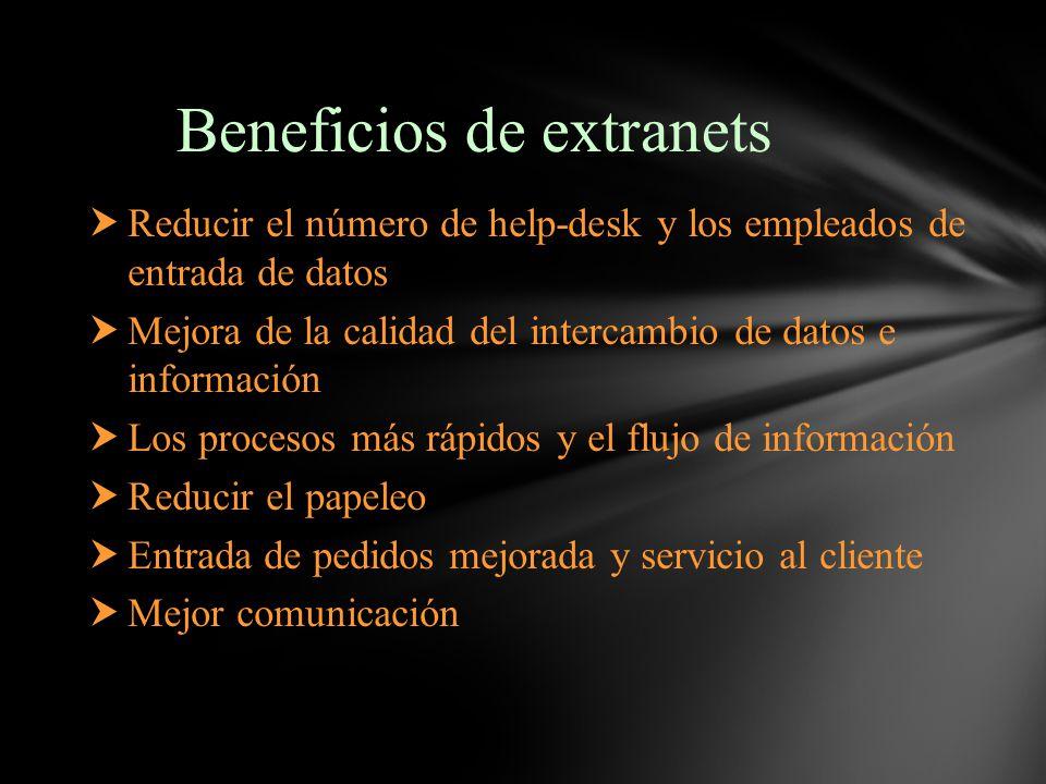 Beneficios de extranets Reducir el número de help-desk y los empleados de entrada de datos Mejora de la calidad del intercambio de datos e información