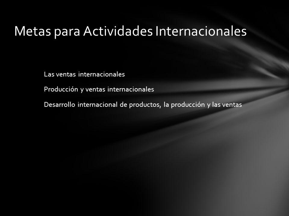 Las ventas internacionales Producción y ventas internacionales Desarrollo internacional de productos, la producción y las ventas Metas para Actividade
