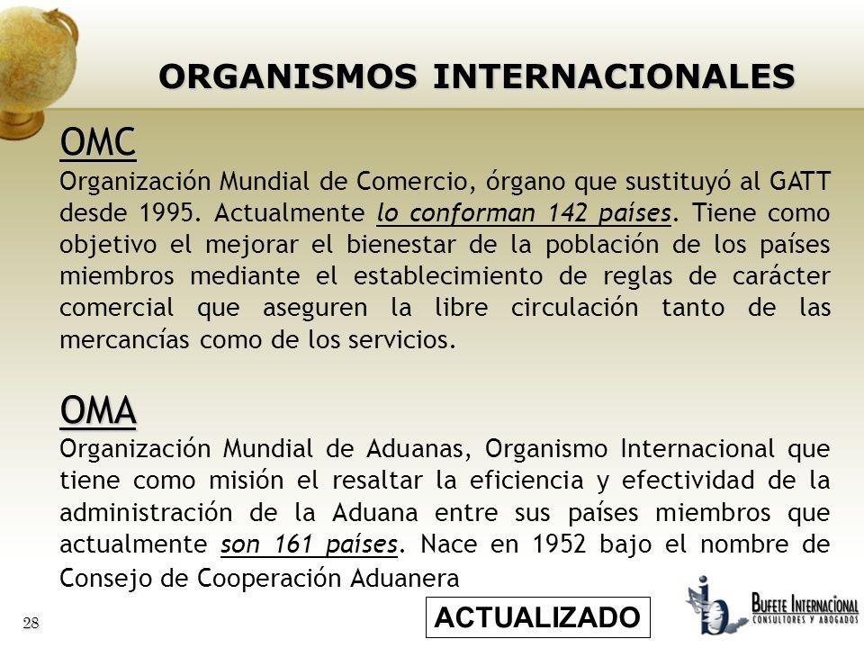 28 ORGANISMOS INTERNACIONALES OMC Organización Mundial de Comercio, órgano que sustituyó al GATT desde 1995. Actualmente lo conforman 142 países. Tien