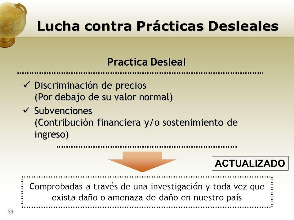 29 Lucha contra Prácticas Desleales Practica Desleal Discriminación de precios (Por debajo de su valor normal) Discriminación de precios (Por debajo d