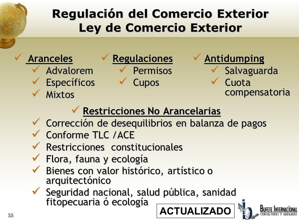 35 Regulación del Comercio Exterior Ley de Comercio Exterior Restricciones No Arancelarias Restricciones No Arancelarias Corrección de desequilibrios
