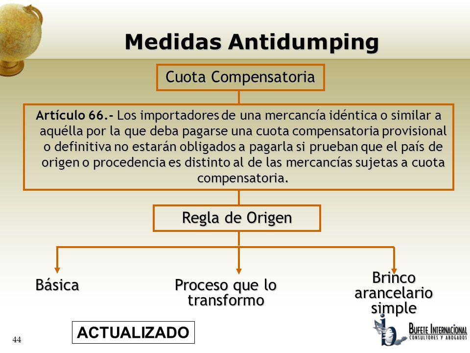 44 Básica Proceso que lo transformo Cuota Compensatoria Artículo 66.- Los importadores de una mercancía idéntica o similar a aquélla por la que deba p