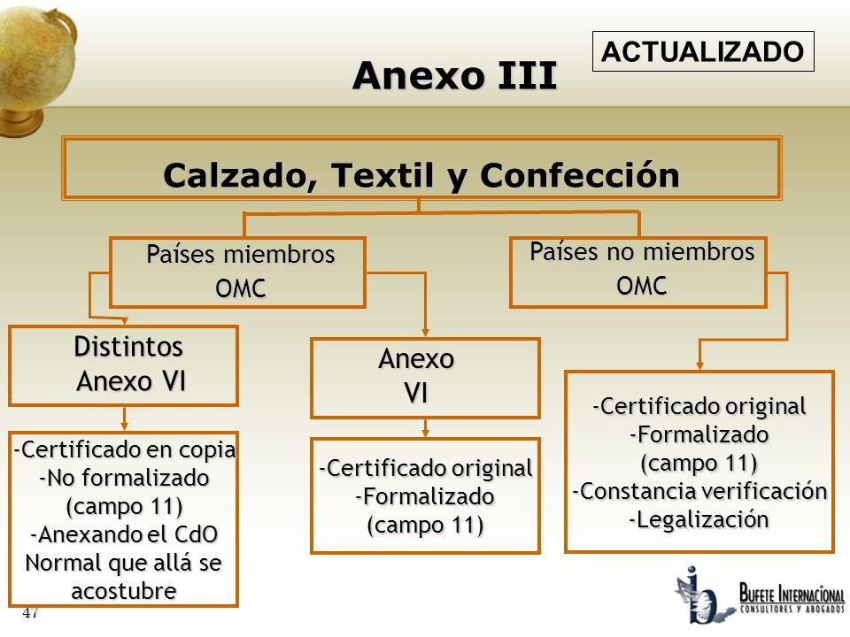 47 Anexo III Países miembros OMC Distintos Anexo VI Anexo VI Países no miembros OMC -Certificado original -Formalizado (campo 11) -Constancia verifica