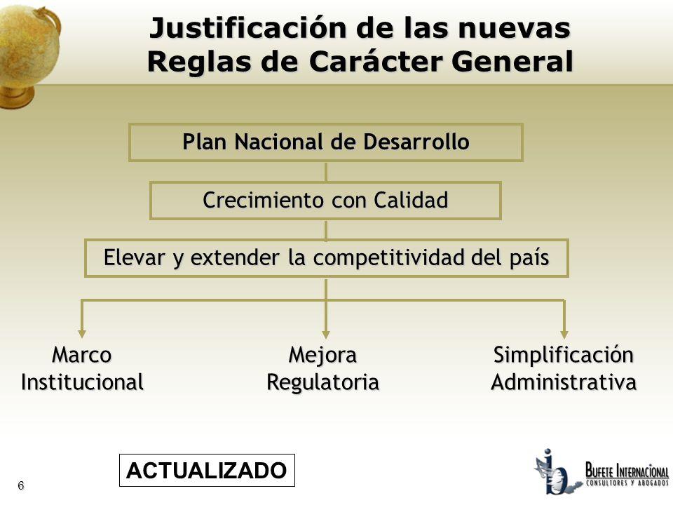 6 Justificación de las nuevas Reglas de Carácter General Plan Nacional de Desarrollo MarcoInstitucionalMejoraRegulatoria Crecimiento con Calidad Eleva