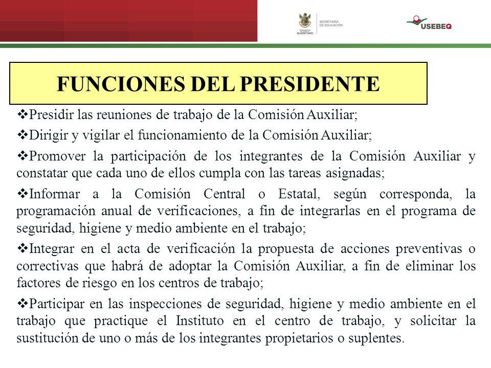 FUNCIONES DEL PRESIDENTE Presidir las reuniones de trabajo de la Comisión Auxiliar; Dirigir y vigilar el funcionamiento de la Comisión Auxiliar; Promo