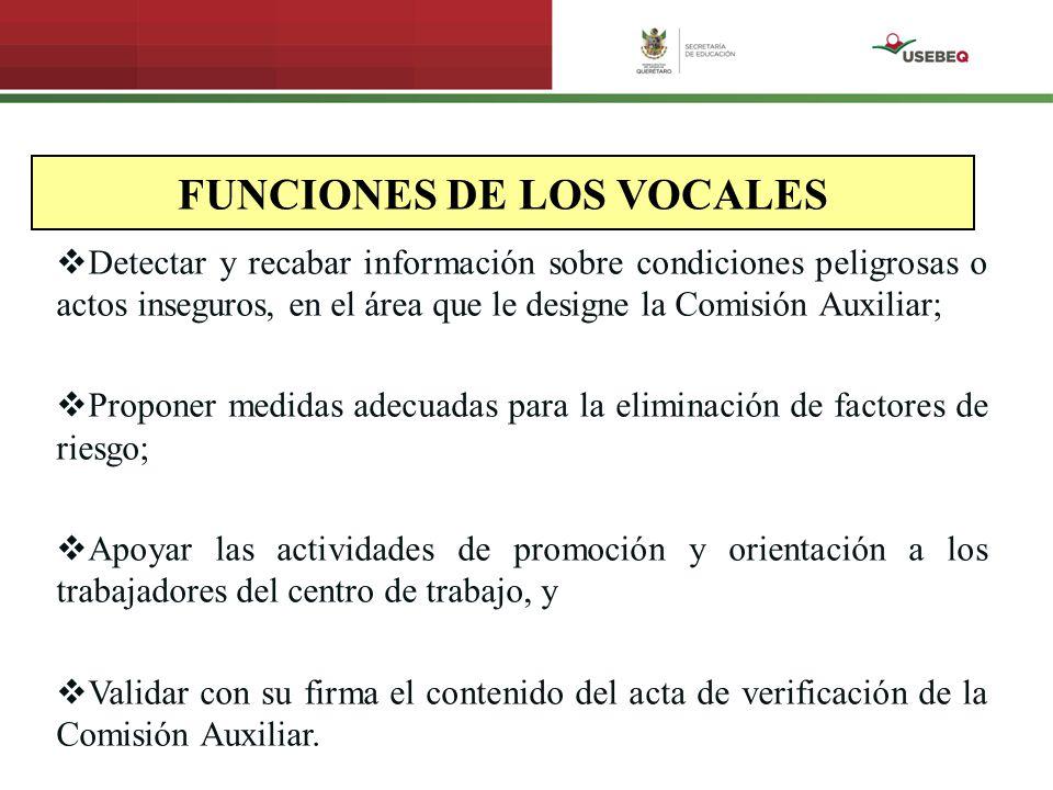 FUNCIONES DE LOS VOCALES Detectar y recabar información sobre condiciones peligrosas o actos inseguros, en el área que le designe la Comisión Auxiliar