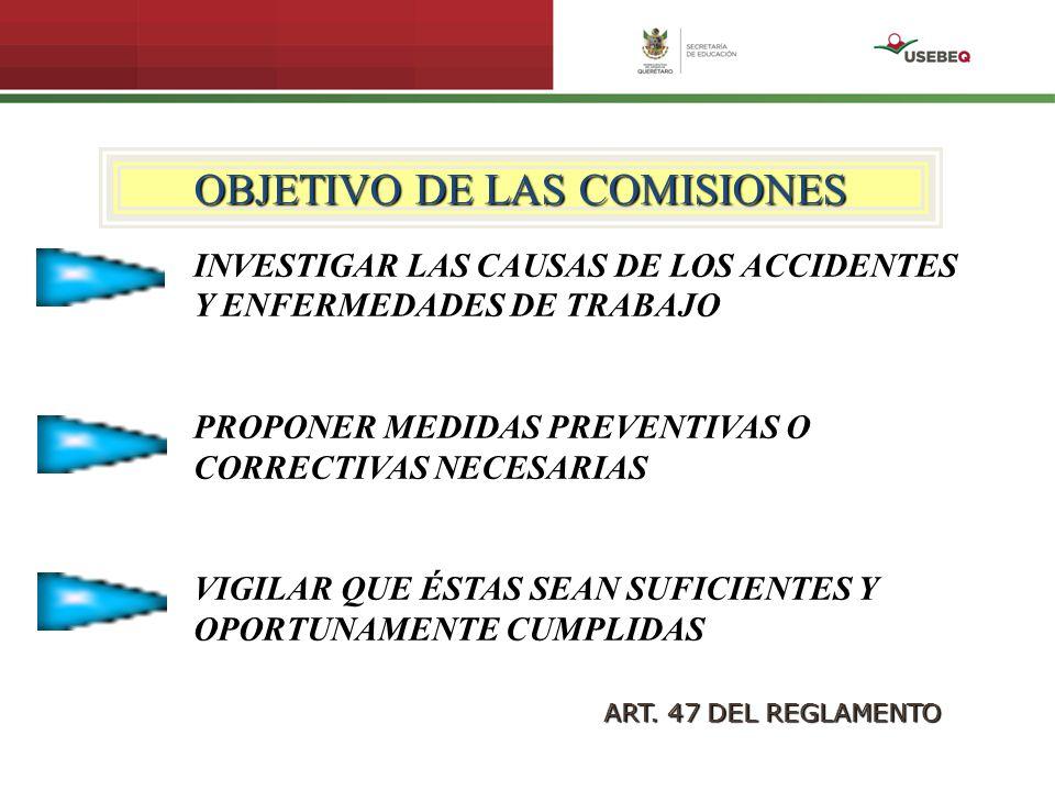OBJETIVO DE LAS COMISIONES INVESTIGAR LAS CAUSAS DE LOS ACCIDENTES Y ENFERMEDADES DE TRABAJO PROPONER MEDIDAS PREVENTIVAS O CORRECTIVAS NECESARIAS VIG