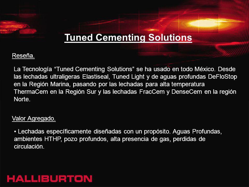 Tuned Cementing Solutions La Tecnología Tuned Cementing Solutions se ha usado en todo México. Desde las lechadas ultraligeras Elastiseal, Tuned Light