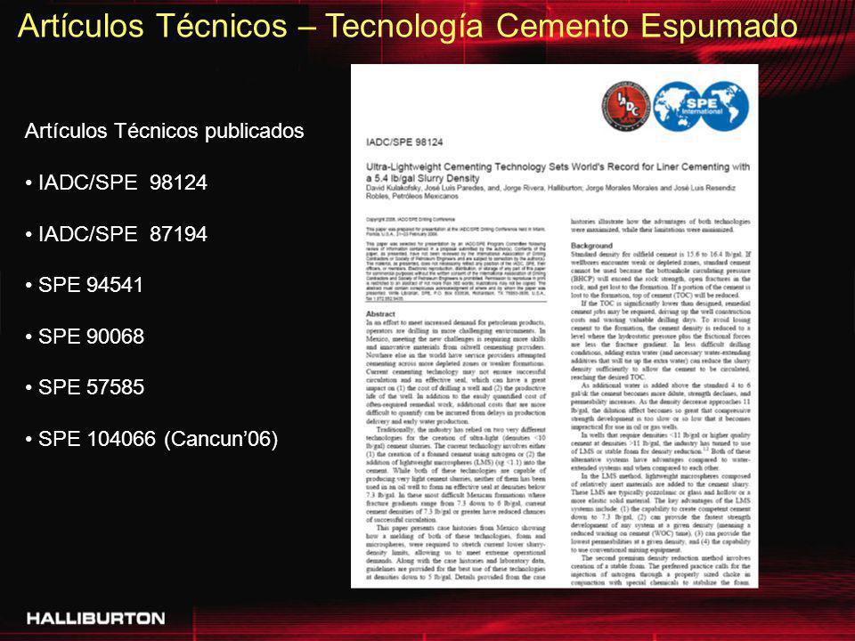 Artículos Técnicos – Tecnología Cemento Espumado Artículos Técnicos publicados IADC/SPE 98124 IADC/SPE 87194 SPE 94541 SPE 90068 SPE 57585 SPE 104066