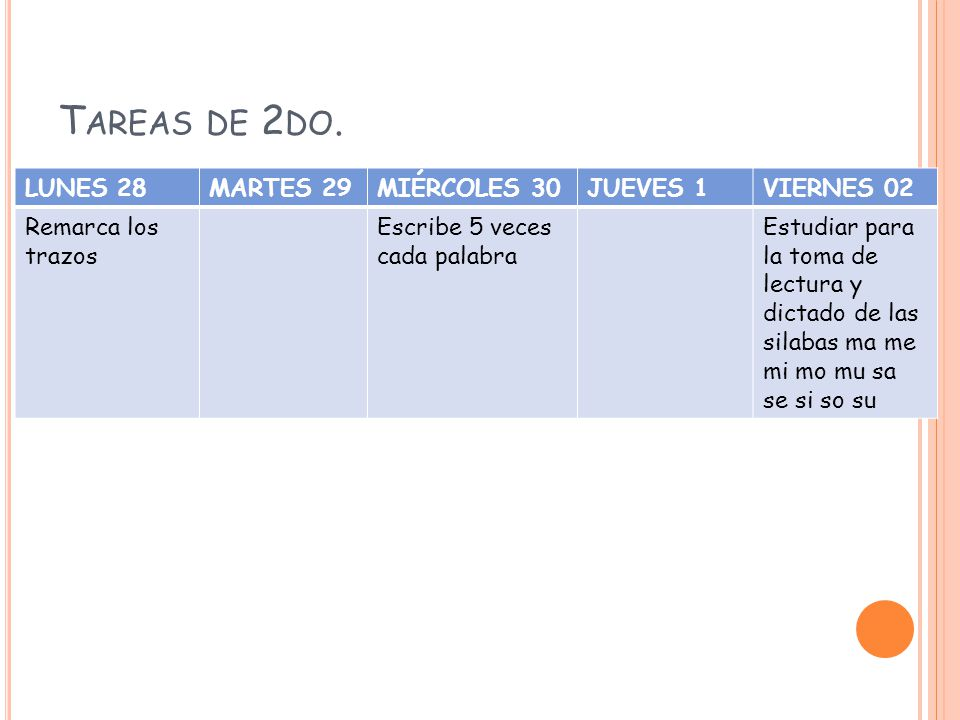 T AREAS DE 3 ERO.
