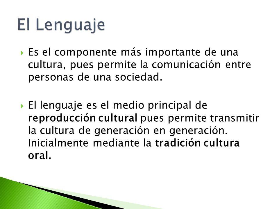 Es el componente más importante de una cultura, pues permite la comunicación entre personas de una sociedad. El lenguaje es el medio principal de repr