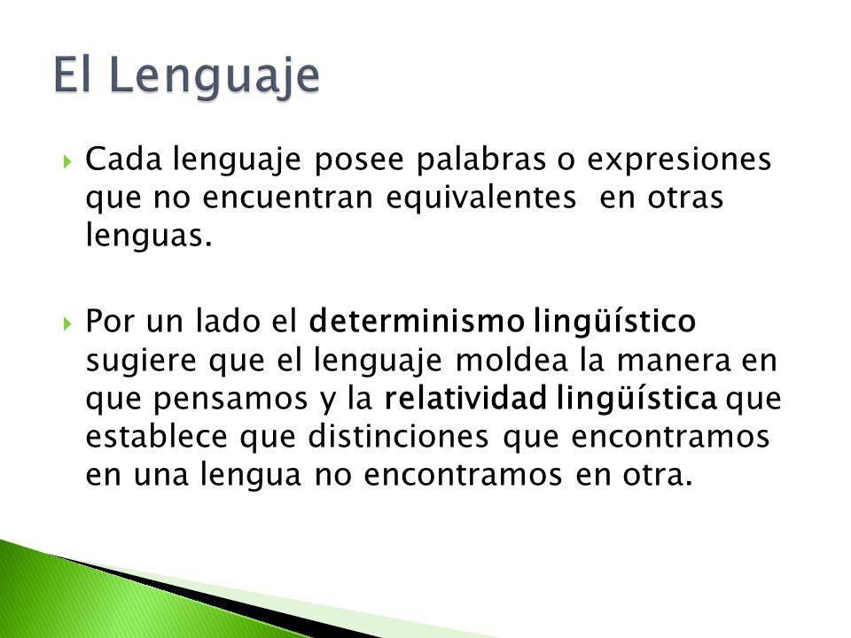Cada lenguaje posee palabras o expresiones que no encuentran equivalentes en otras lenguas. Por un lado el determinismo lingüístico sugiere que el len