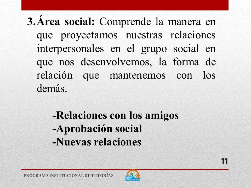 3.Área social: Comprende la manera en que proyectamos nuestras relaciones interpersonales en el grupo social en que nos desenvolvemos, la forma de relación que mantenemos con los demás.