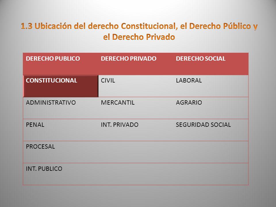 El derecho constitucional se encuentra dentro del derecho publico, ya que en este el estado esta por encima de los particulares, en el D.