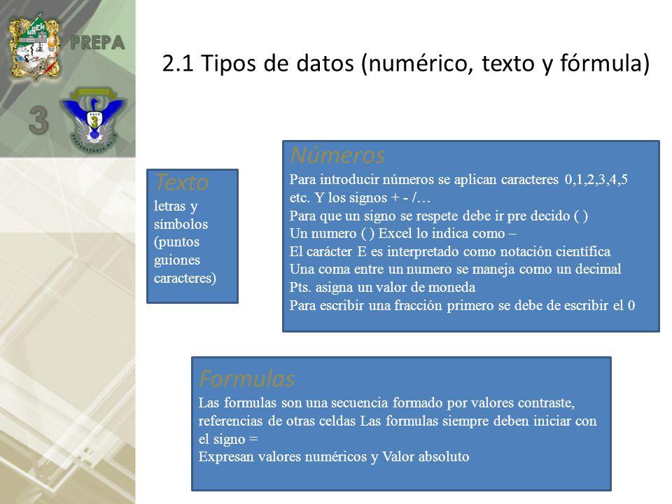 2.1 Tipos de datos (numérico, texto y fórmula) Texto letras y símbolos (puntos guiones caracteres) Números Para introducir números se aplican caracter