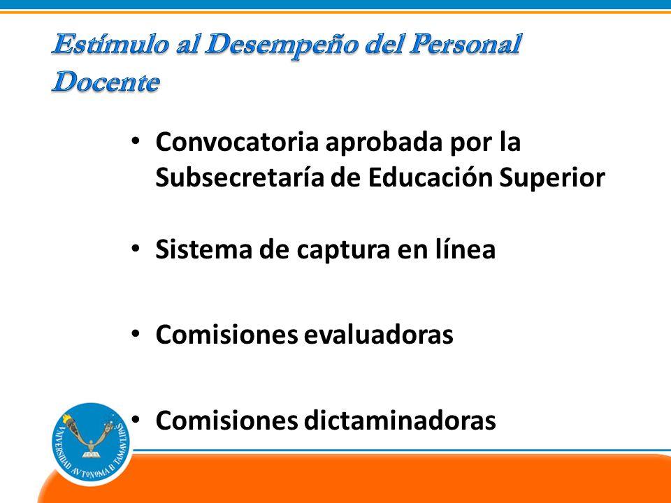 Convocatoria aprobada por la Subsecretaría de Educación Superior Sistema de captura en línea Comisiones evaluadoras Comisiones dictaminadoras