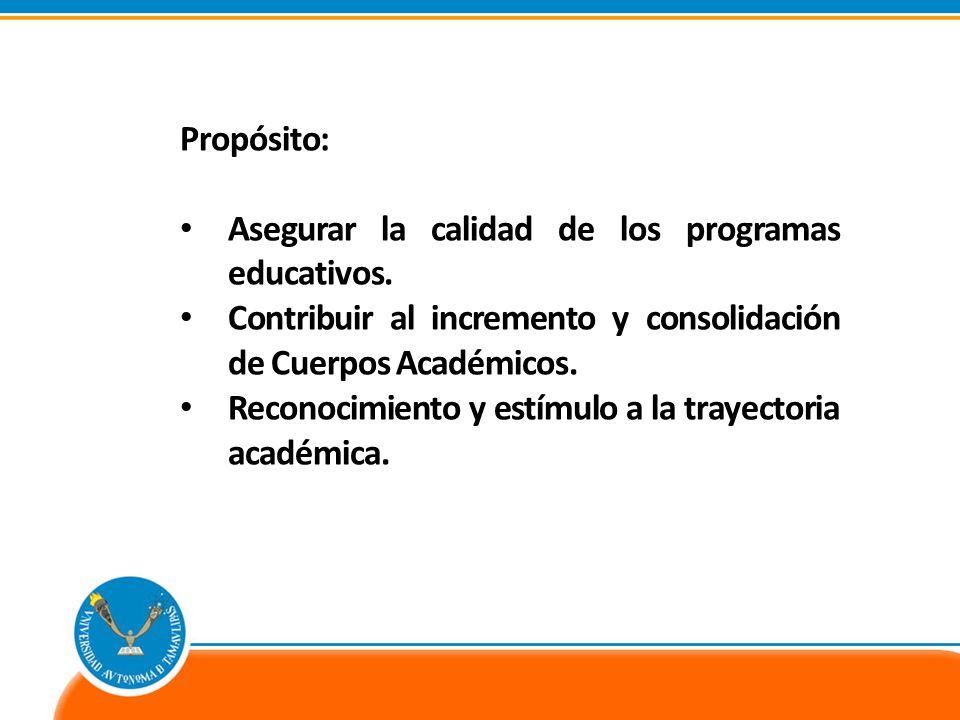 Propósito: Asegurar la calidad de los programas educativos. Contribuir al incremento y consolidación de Cuerpos Académicos. Reconocimiento y estímulo