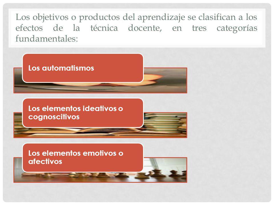 Los objetivos o productos del aprendizaje se clasifican a los efectos de la técnica docente, en tres categorías fundamentales: Los automatismos Los el