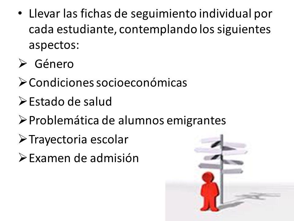 Llevar las fichas de seguimiento individual por cada estudiante, contemplando los siguientes aspectos: Género Condiciones socioeconómicas Estado de sa