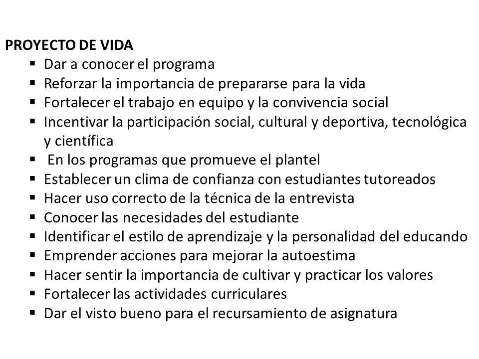 PROYECTO DE VIDA Dar a conocer el programa Reforzar la importancia de prepararse para la vida Fortalecer el trabajo en equipo y la convivencia social