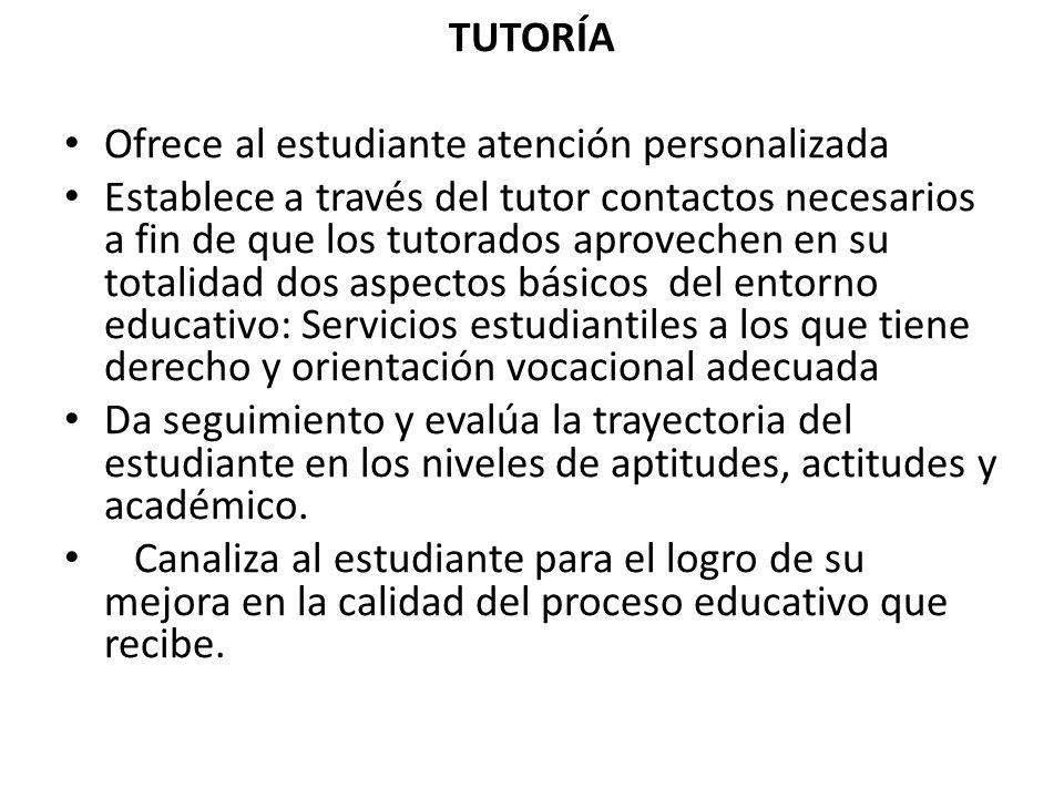 TUTORÍA Ofrece al estudiante atención personalizada Establece a través del tutor contactos necesarios a fin de que los tutorados aprovechen en su tota