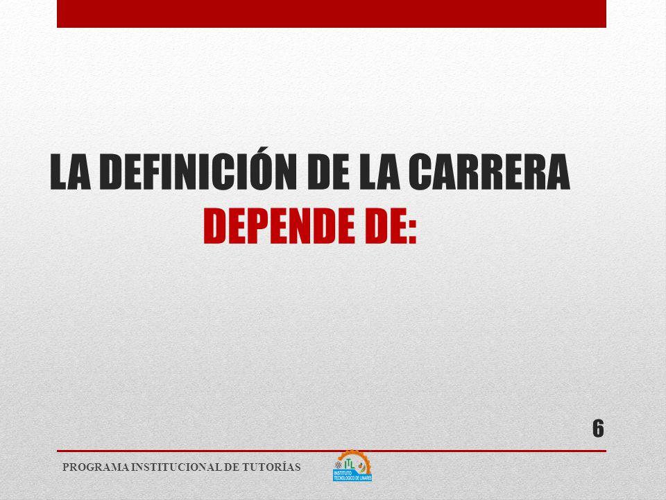 LA DEFINICIÓN DE LA CARRERA DEPENDE DE: PROGRAMA INSTITUCIONAL DE TUTORÍAS 6