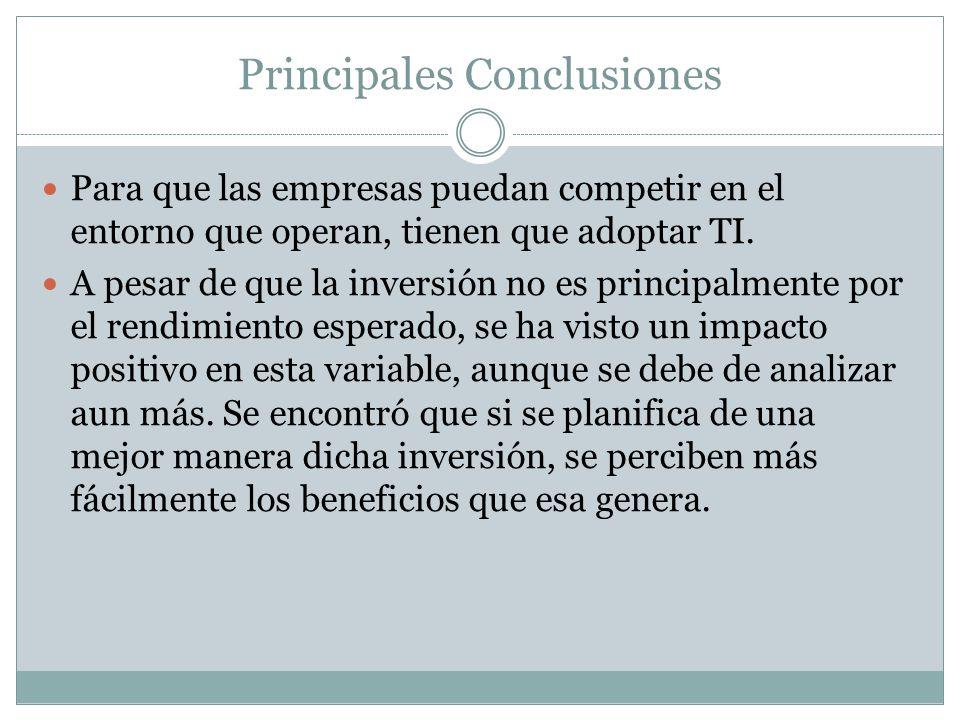 Principales Conclusiones Para que las empresas puedan competir en el entorno que operan, tienen que adoptar TI.