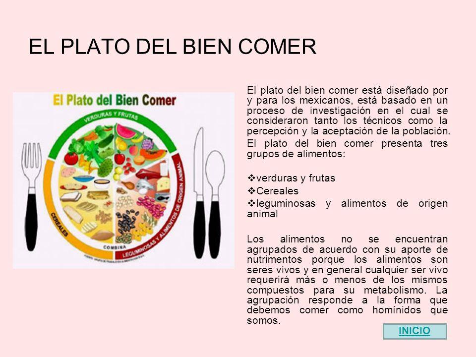 EL PLATO DEL BIEN COMER El plato del bien comer está diseñado por y para los mexicanos, está basado en un proceso de investigación en el cual se consideraron tanto los técnicos como la percepción y la aceptación de la población.