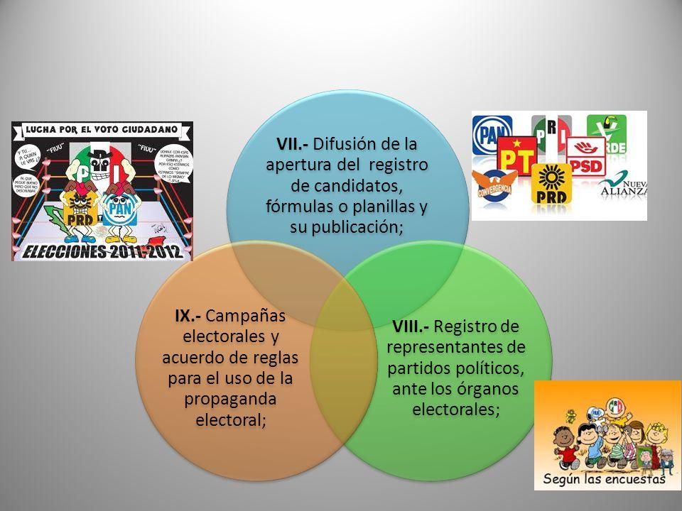 VII.- Difusión de la apertura del registro de candidatos, fórmulas o planillas y su publicación; VIII.- Registro de representantes de partidos polític