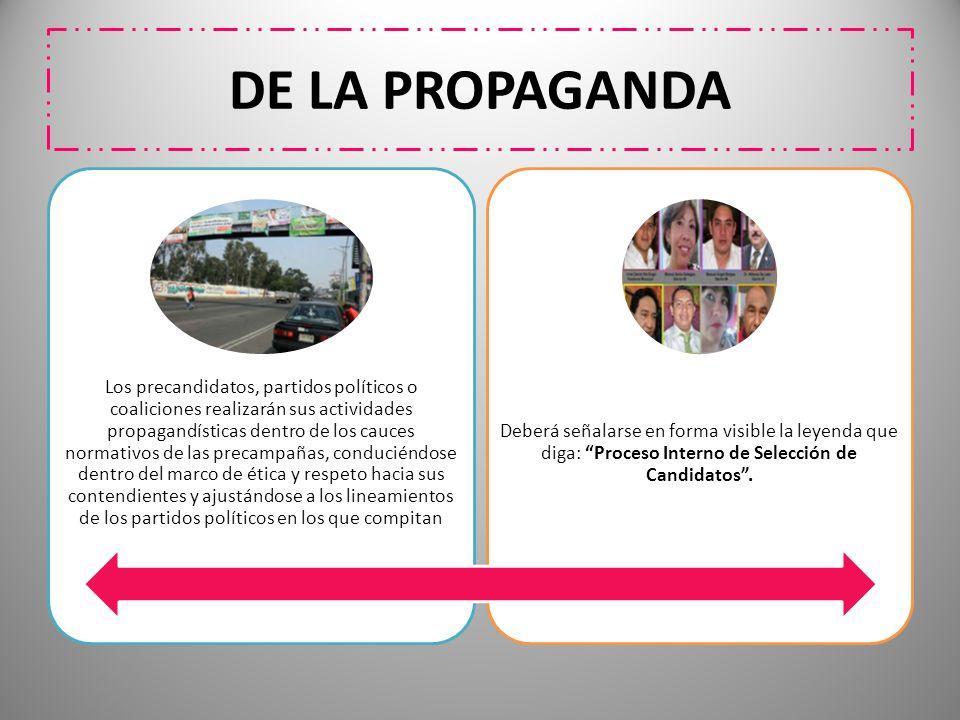 DE LA PROPAGANDA Los precandidatos, partidos políticos o coaliciones realizarán sus actividades propagandísticas dentro de los cauces normativos de la