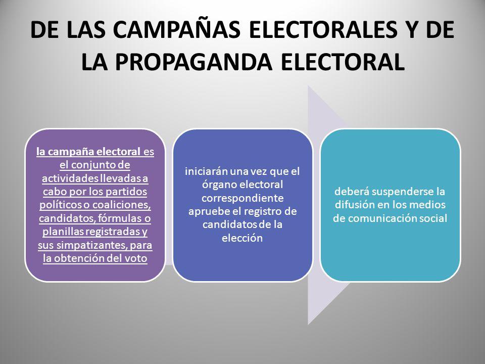 DE LAS CAMPAÑAS ELECTORALES Y DE LA PROPAGANDA ELECTORAL la campaña electoral es el conjunto de actividades llevadas a cabo por los partidos políticos