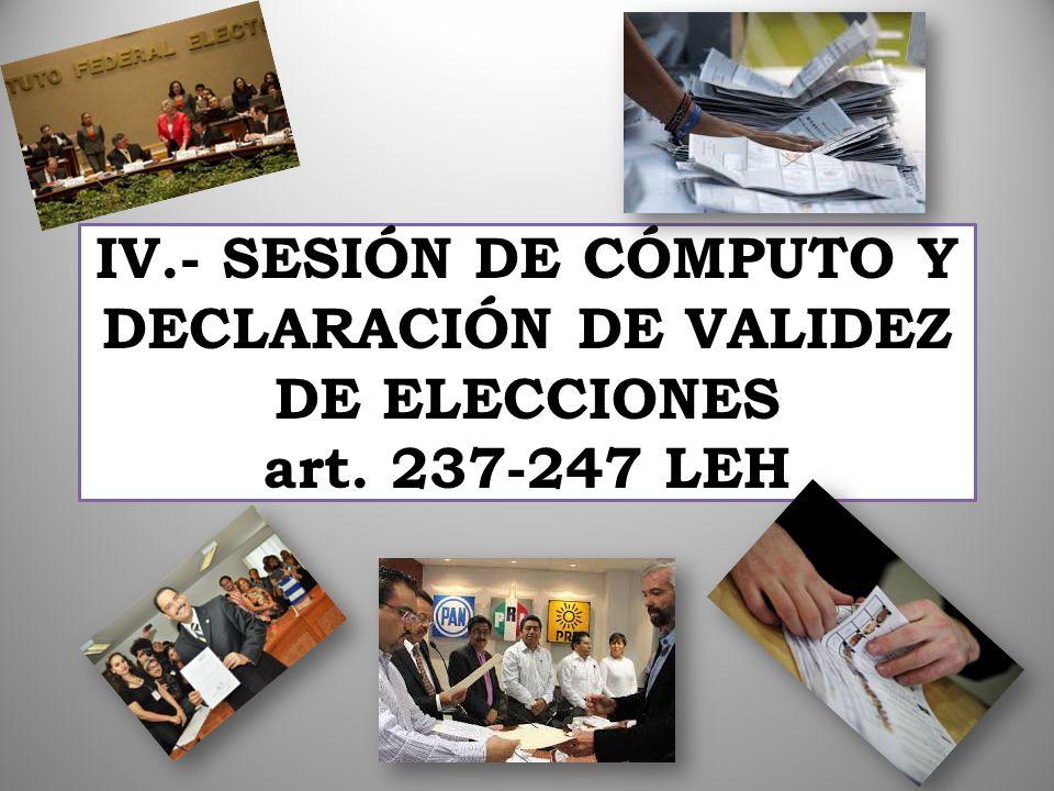IV.- SESIÓN DE CÓMPUTO Y DECLARACIÓN DE VALIDEZ DE ELECCIONES art. 237-247 LEH