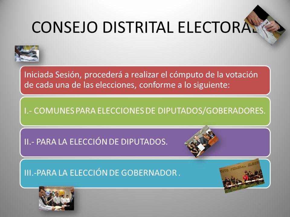 CONSEJO DISTRITAL ELECTORAL Iniciada Sesión, procederá a realizar el cómputo de la votación de cada una de las elecciones, conforme a lo siguiente: I.
