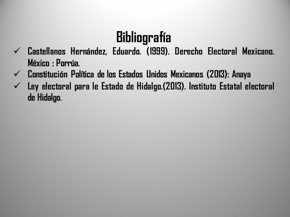 Bibliografía Castellanos Hernández, Eduardo. (1999). Derecho Electoral Mexicano. México : Porrúa. Constitución Política de los Estados Unidos Mexicano