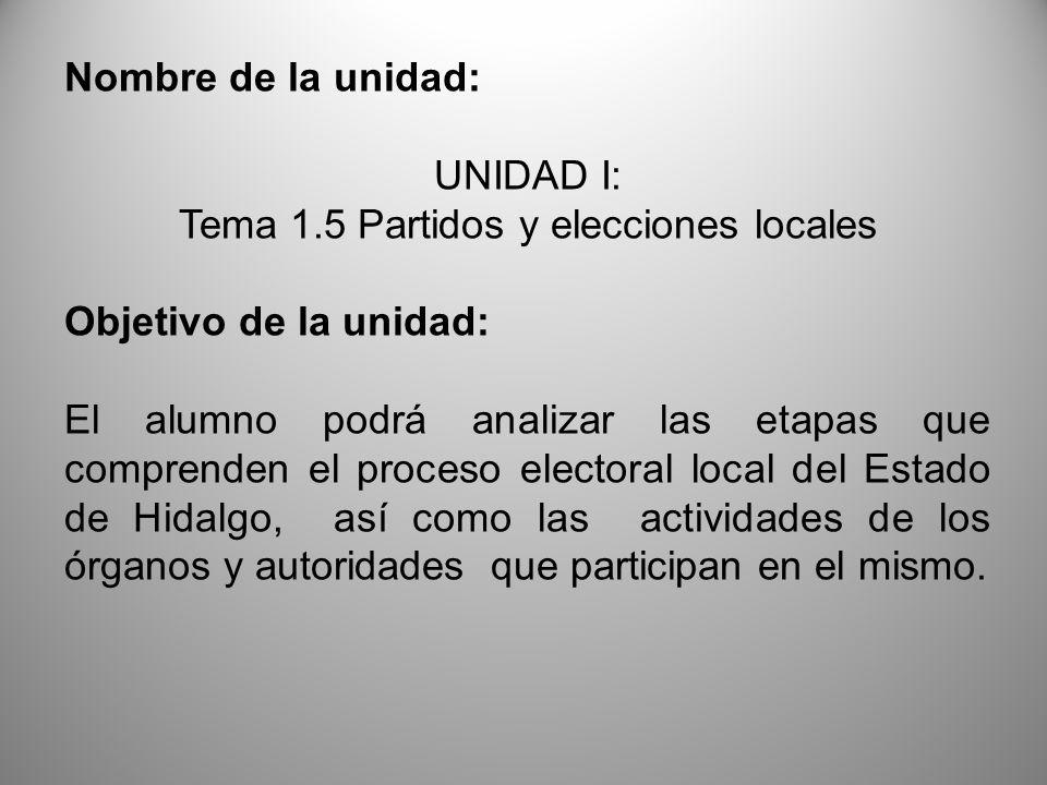Nombre de la unidad: UNIDAD I: Tema 1.5 Partidos y elecciones locales Objetivo de la unidad: El alumno podrá analizar las etapas que comprenden el pro