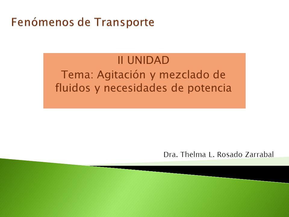 II UNIDAD Tema: Agitación y mezclado de fluidos y necesidades de potencia Dra. Thelma L. Rosado Zarrabal
