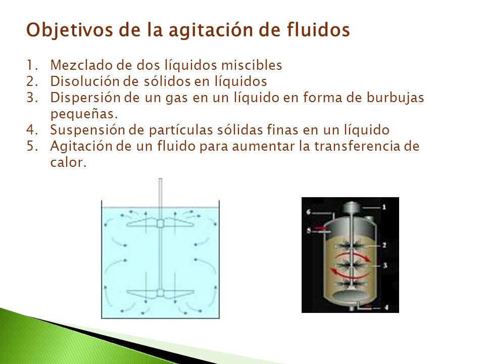 Objetivos de la agitación de fluidos 1.Mezclado de dos líquidos miscibles 2.Disolución de sólidos en líquidos 3.Dispersión de un gas en un líquido en