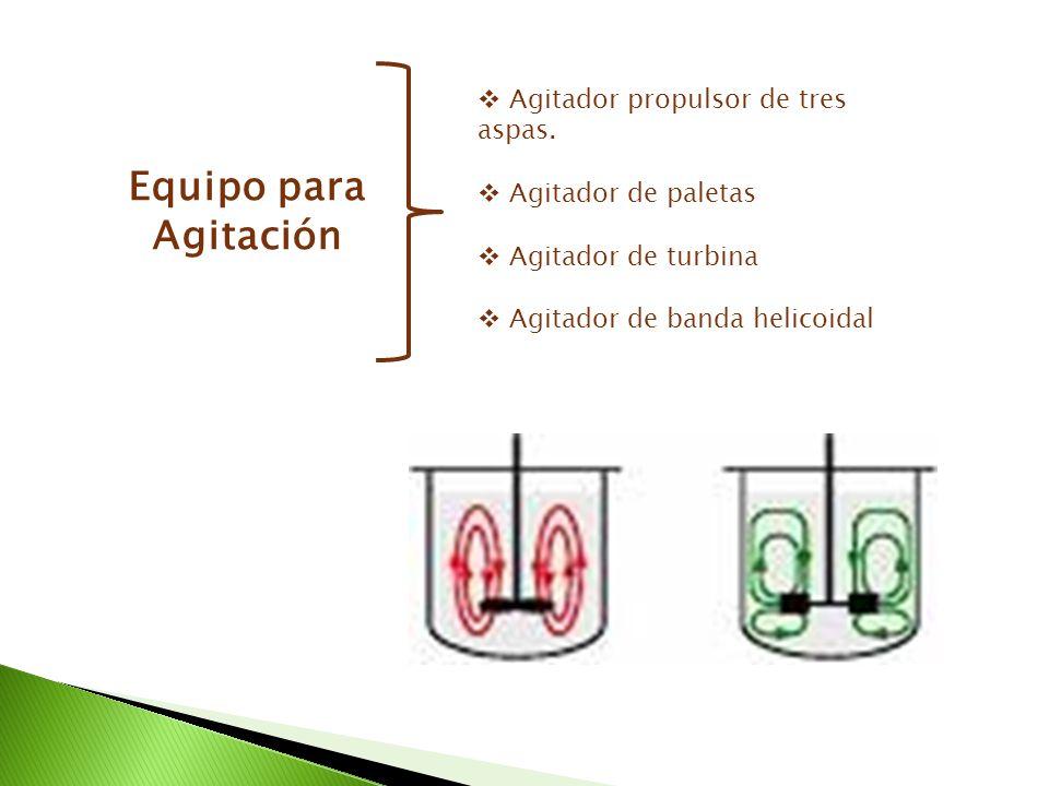 Equipo para Agitación Agitador propulsor de tres aspas. Agitador de paletas Agitador de turbina Agitador de banda helicoidal